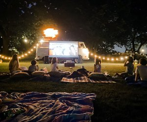 The VW Picture Bus delivers drive-in movie nights to your backyard or another locale. Photo courtesy of the company