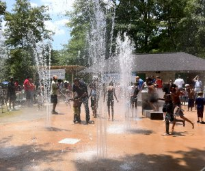 Stay cool amid the giant oak trees at Perkerson Park Splash Pad