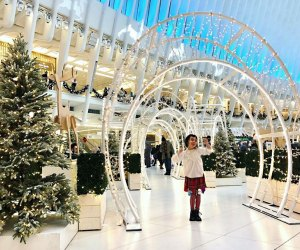 Take kids on an NYC adventure to see all the dazzling holiday lights. The Oculus photo by Janet Bloom