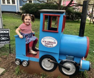 Kids love to sit in the train engine at Peterson's Ice Cream Depot in Clifton, Virginia. Photo courtesy of Jennifer Marino Walters