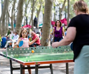 Test your skills at Bryant Park's pair of pingpong tables. Photo by Angelito Jusay