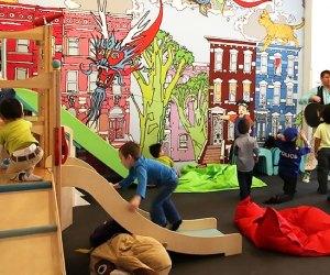 Kids enjoy climbing at PLAY Greenpoint.