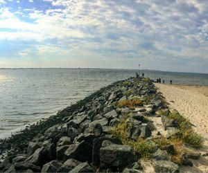 The Shore Parkway Greenway hiking trail leads to the beach
