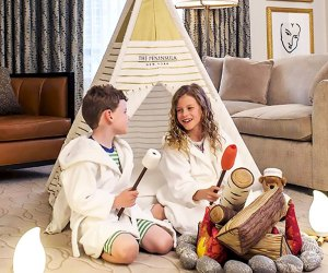 Kids will love the indoor faux camp out at The Peninsula.