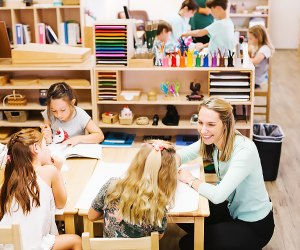 Kids work in small, interactive instruction groups in a Montessori environment. Photo courtesy of the Polis World School