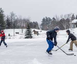 play a game of pick-up hockey Things to Do in Lake Placid on a Winter Vacation Status message