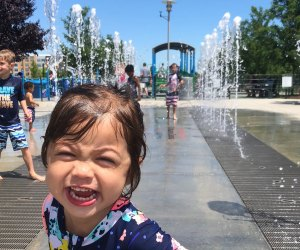 Enjoy the water jets at the Potomac Yard Interactive Fountain? Photo courtesy Kim Nguyen