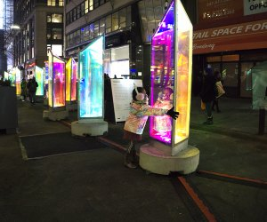 Prismatica brings 25 rotating, rainbow-hued prisms to the Garment District.