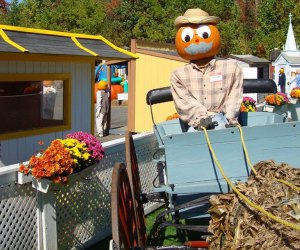 Friendly painted pumpkins welcome visitors to the Pumpkin Town USA drive-thru