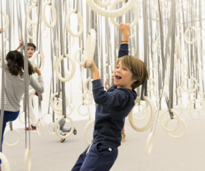 """Climb among hundreds of gymnastic rings suspended from the ceiling at the Institute of Contemporary Art/Boston's installation - """"William Forsythe: Choreographic Objects"""". Photo by Liza Voll courtesy of ICA/Boston"""