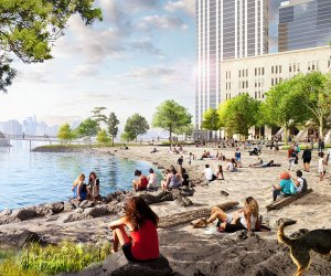 River Ring's long-term development includes a new protected public beach on the East River; for now, visitors to the space can enjoy a new mini-golf course and sustainable far.