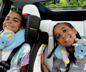 two girls in a car with unicorn neck pillows