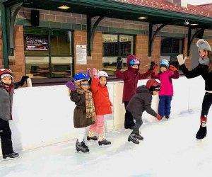 Kids take ice skating lessons at Roosevelt Park Family Skating Rink