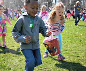 There are more than 5,000 eggs to find at the RoslIndale Egg Hunt. Photo by Bruce Spero Photography courtesy of Roslindale Village Main Street