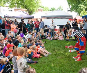 Davey the Clown performs at the Roslindale Village Main Street Farmers Market Opening Day. Photo courtesy of RVMS