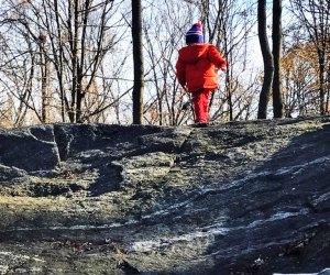child walking in the woods Rye Nature Center westchester winter walks