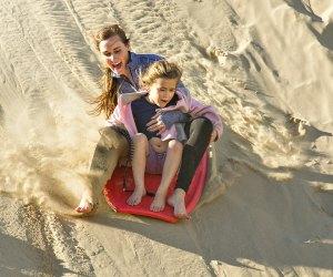 now open in LA - sand sledding the beach berms