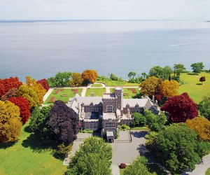 Aerial shot of Sands Point Preserve during the fall season.