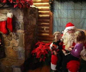 Kids can have a visit with Santa in his cozy workshop in Wickham Park. Photo courtesy of Wickham Park