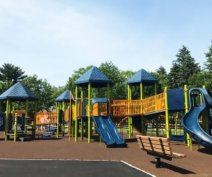 The newly renovated playground in Saxon Woods Park has tons of cool new features.