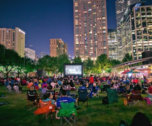 Enjoy a family-friendly flick under the Houston skyline at Screen on the Green./Photo courtesy of Morris Malakoff, The CKP Group.