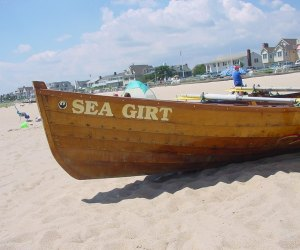 a boat in the sand at Sea Girt, NJ