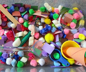 Create a colorful, texturized world with a DIY sensory bin. Photo by Emma Graig