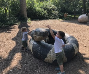 The Staten Island Zoo has fun animal sculptures to climb and explore. Photo by the author