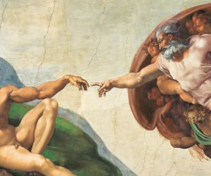 """Michelangelo's The Creation of Adam recreated for """"Up Close: Michelangelo's Sistine Chapel."""" Courtesy of Erich Lessing and SEE Global Entertainment"""
