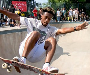 Hudson River Park's Pier 62 Skate Park is FREE and is open to all skateboarders and rollerbladers. Photo courtesy of Hudson River Park