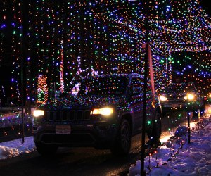 The Skylands Stadium Christmas Light Show takes visitors on a winding, drive-thru course with tons of twinkling lights and dazzling decorations.