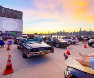 Enjoy a  magical night at the Skyline Drive-In Movie Theater pop-up on the Greenpoint waterfront. Photo courtesy of the Skyline Drive-In