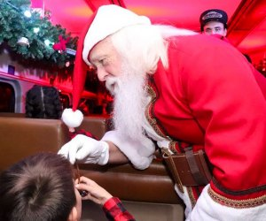 Santa meets with everyone on the Polar Express. Photo courtesy of the Southern California Polar Express Train Ride