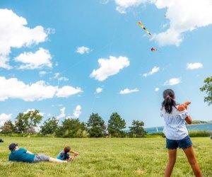 Free Kite Friday on Spectacle Island. Photo courtesy of Boston Harbor Now