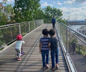 Kids walking on Squibb Bridge