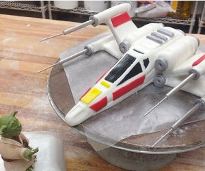 Crafting the topper on a Star Wars cake at Sweet Sweet Sue's.