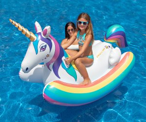 A unicorn float makes time in the pool extra fun!