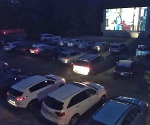The Drive-In Movie Series at The Gateway Performing Arts Center boasts the largest screen on Long Island. Photo courtesy of the venue