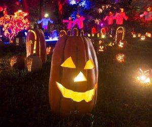 jack-o-lanterns at night at the Blaze Long Island