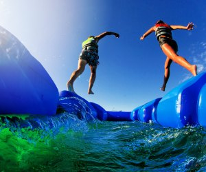 Hit the obstacle course at these inflatable Orlando water parks. Photo courtesy of The Lift Adventure Park