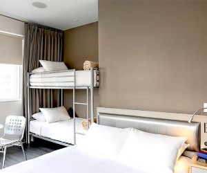 NU Hotel's family-friendly rooms include bunk beds.