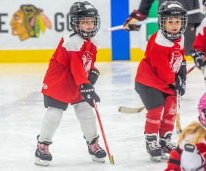 The Tiny Hawks is just one of several available hockey classes in Chicago for kids. Photo courtesy of Youth Hockey Programs, Fifth Third Arena.