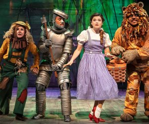 At Navy Pier, an abridged version of The Wizard of Oz brings the Scarecrow, the Tin Man, Dorothy and the Cowardly together for an adventure down the Yellow Brick Road. Photo by Liz Lauren