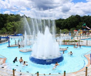 Tibbets Brook Park's swimming complex includes a sprayground complete with cool jets and sprinklers.