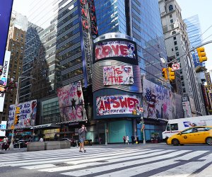 Times Square is more quiet than normal, but still filled with lively billboards and plenty of attractions.