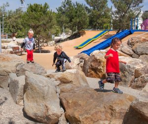 Kids love the rocks and climbing structures at Tongva Park. Photo courtesy of James Corner Field Operations