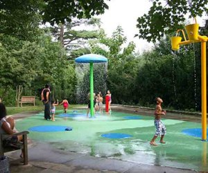 Even the spray park has shade at Blumenfeld Family Park. Photo courtesy of the Town of North Hempstead