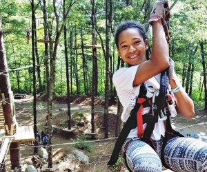 Kids will love to zip between the trees in Canton. Photo courtesy of TreeTop Adventures