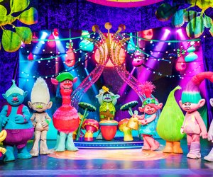 Get ready for another hair-raising adventure when Poppy, Branch and their friends come to life on-stage in Trolls LIVE! Photo courtesy of the production