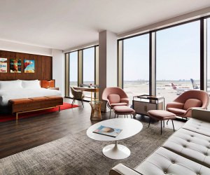 The TWA Hotel isn't far from home, but offers a little mid-century glam and some unique views.